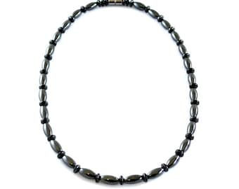 Black Oval Magnetic Therapy Necklace, All Oval and Round Beads Hematite Magnetic Necklace #MHN-133