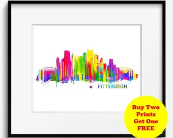 Pittsburgh Skyline Watercolor Art Print (044) Cityscape