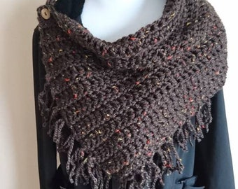 """Chunky Button Scarf Wrap, (Cowl with Fringe, """"Autumn"""")"""