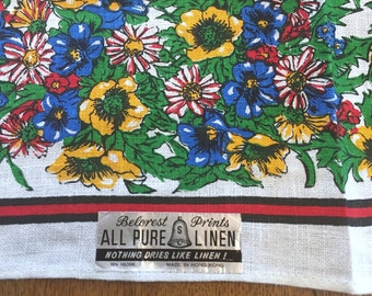 Vintage Linen Towel, Floral Wildflowers, Unused with Belcrest paper label, Retro Cottage Kitchen Bath Decor
