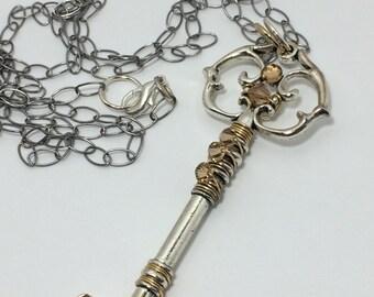 Golden Topaz Necklace ~ Skeleton Key Necklace ~ Wire Wrapped Key Necklace ~ Topaz Necklace ~ Gold Key Necklace