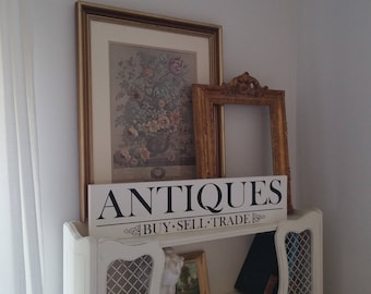 """Antiques Sign, Hand Painted Antiques Sign, Vintage Inspired Sign/ 5.5""""x24"""""""