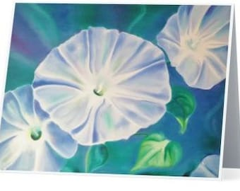 Blue Morning Glory Note Cards Set of 5 with Envelopes