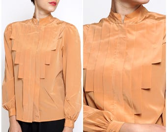 Vintage 1970s Silky Orange Long Sleeve Button-Up Shirt with Geometric Pleat Details by Casual Corner | Small