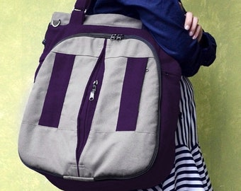 Mother s Day Big Sale LILAC / Large / Dark Purple on Grey / Lined with Purple / Ship in 15 days /Adjustable Strap and Elastic Pockets / Diap
