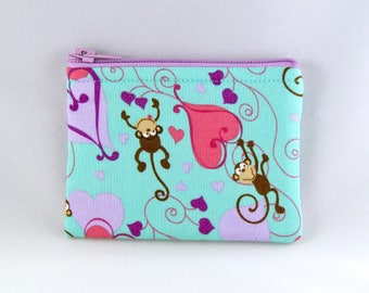 Monkeys in Love Coin Purse - Coin Bag - Pouch - Accessory - Gift Card Holder