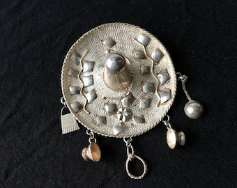 Sterling silver Mexican sombrero brooch with charms