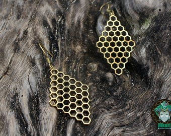 HONEYCOMB EARINGS, brass, kalinga tribe, tribal, honeycomb,unique earings, bohochic