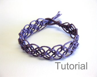 Lacy macrame bracelet pattern tutorial pdf purple step by step knot instructions how to jewellery beginner handmade diy jewelry