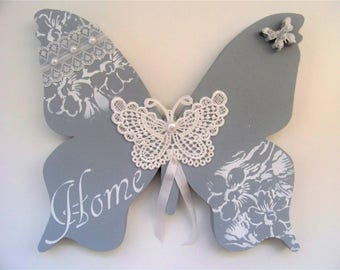 Butterfly wooden fretwork style Gustavian, shabby chic style home decor.
