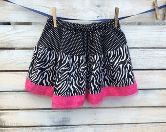 Girls Skirt , Zebra Print Skirt , Girls Twirl Skirt