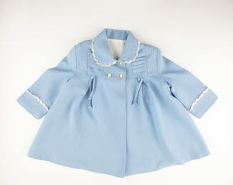 Girl's Coat - Size 1-3T - Soft Blue Worsted Wool - White Silk Lining - Ties and Lace - Spring Coat - Dress Up - Double-breasted Coat