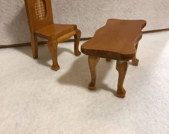 Wood Chair and Table, Miniatures for Dollhouse