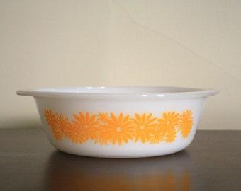 Vintage Orange Daisy Ovenware Bowl
