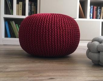 Knitted pouf Pouf Red pouf Knit cherry pouf Knit pouf Knitted ottoman Footstool Knitted pouffe Floor ottoman Crochet pouffe