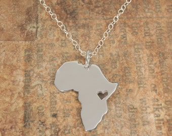 Africa Map Pendant, Ehiopian Jewelry, Personalized Africa Necklace in Sterling Silver 935 in a kraft gift box with an Extra Free Gift.