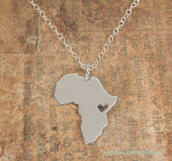 Africa necklace silver africa necklace map personalized aloadofball Image collections