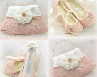 Ballet Flats, Blush, Ivory, Pink, Purse, Lace Flats, Elegant Wedding, Vintage Style, Handbag, Shoes, Ballerina Slippers, Crystals, Satin