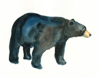 BEAR-10x8inch print-Art Print-animal Watercolor Print-Giclee Print--Children's Wall Art
