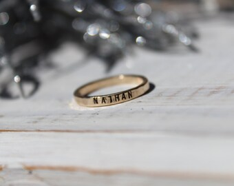 Gold Stacking Rings- Hand Stamped Gold Stacking Rings- Personalized Gold Filled Rings- Hammered Gold Rings