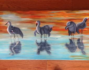 sand cranes wading in brilliant blues in the sunset