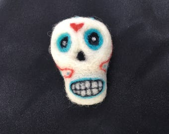 Needle Felted Sugar Skull Badge - Broach - Lapel Pin - Ooak
