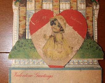 Vintage 1930s Die-Cut 3D Pop-up Mechanical Valentine Valentines Card