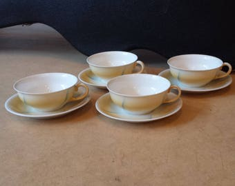 Zeh, Scherzer & Co., ten (!) spritzdekor airbrushed, thin china cups and saucers from the 1930s, constructivist, Bauhaus