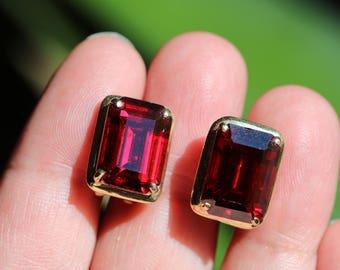 14k Yellow Gold 585 PTJ Emerald Cut Red Faux Ruby Rhinestone Drop Omega Back Earrings 7.4g