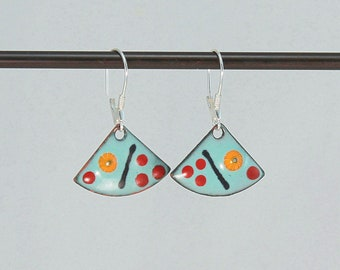 Copper enamel earrings, colorful earrings, aqua red blue earrings.