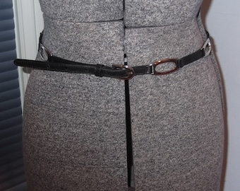 Skinny Black Belt With Silver Rectangular Stations Made in Italy