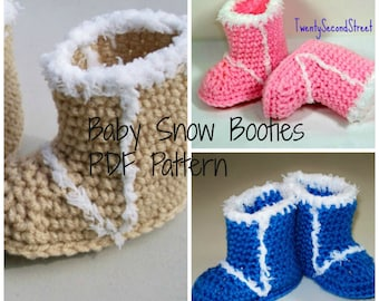 PDF PATTERN for Crochet Baby Snow Booties Ugg Style