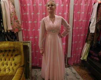 1950's Original Emma Domb /Vintage Couture/ Formal dress/pink/