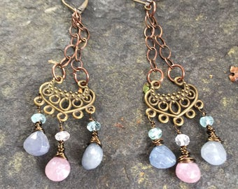 Pink and Blue Sapphire Briolette Filigree Swingers   Bohemian  Gypsy Dangle Earrings  Gemstone Quaility Earrings orig 60 dollars now 40 sale
