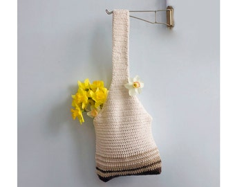 Cotton Hobo Bag, Crochet Tote Bag, Market Tote,  Crochet Cotton Market Bag, Cream, Brown Book Bag,  Beach Bag