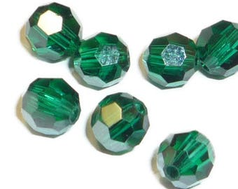 Emerald Satin - 8mm (12 pcs) - Swarovski Crystal Round - 5000