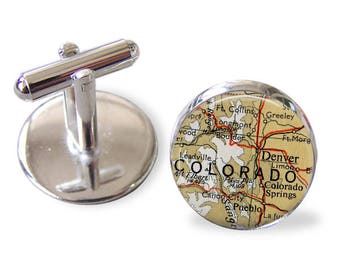 Colorado Cuff Links, Vintage Map Cufflinks, destinations, handmade cufflinks, us cities, usa city map, map cufflinks, groomsmen,  cuff links