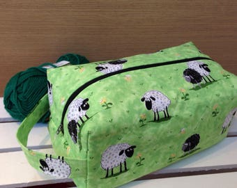 Sheep in meadow knitting bag, knitting project bag, boxed zipper pouch, boxy project bag, multi purpose storage bag, quilted boxy pouch