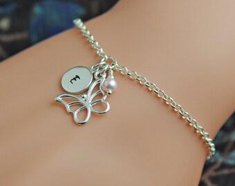 Butterfly Bracelet, Personalised Bracelet, Sterling Silver Bracelet, Birthstone Bracelet, Charm Bracelet, Personalized Bracelet WB111