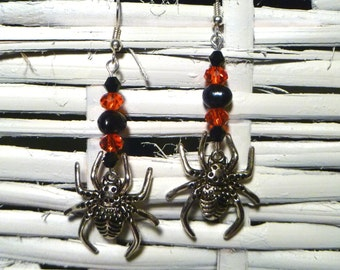 Spooky! Silver Plated Spider Earrings with Freshwater Black Tahitian Pearls - Perfect for Halloween
