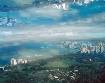 city in the sky: surreal photography. clouds photography. waikiki honolulu skyline photo. hawaii oahu landscape art. multiple exposure photo