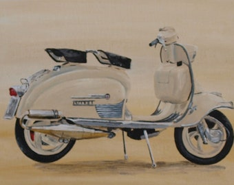 Lambretta - acrylic painting on canvas board