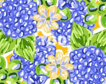 Preppy blue floral hydrangea digital paper - Original Art download, blue and yellow digital paper, preppy digital paper