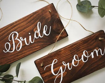 Rustic Bride and Groom Chair Sign - Wedding Sign - Rustic Wedding Decor - Wedding Dinner Signs - Wedding Photo Props