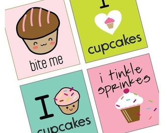 Witty Cupcake Designs - (1x1) One Inch Pendant Images - Printable Digital Collage Sheet - Buy 2 Get 1 Free - Instant Download - 1x1 Square