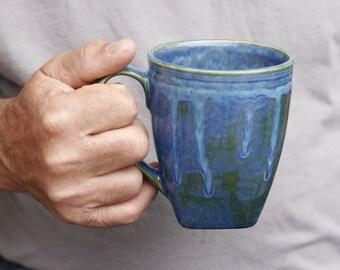 16 oz Mug, Ocean Blue Green Drip Mug, Etched Stripes, Blue Green, Natural Patina High Fire Stoneware, Hand Painted, Ready To Ship