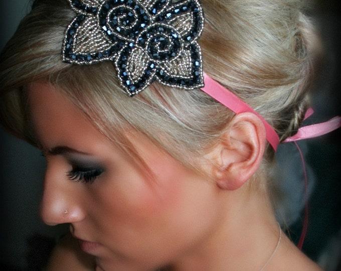 Winter Holiday Headband, Beaded Floral Headband, Flower Hair Piece, Beaded Headband, black and gold headband