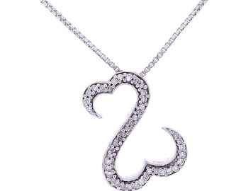 Diamond Heart Necklace, 0.20ct, Sterling Silver (925N421)