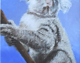 Koala painting, FRAMED oil painting, Animal Art, Australian animal, mammal, nursery painting, Jan Matson
