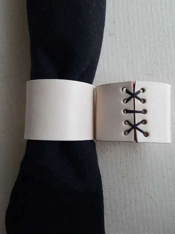 Black & White Leather Napkin Rings Hand Stitched Lace ~  Intimate Dining ~ Set of Four Napkin Holders ~ Wedding Table ~ Kitchen Table Decor